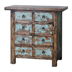 Camryn Aged Accent Chest - Constructed With Antique Chinese Tradition, The Solid Elm Wood Drawers And Cabinet Are Beautifully Finished In Vibrant, Robin's Egg Blue And Black Crackle, Heavily Distressed To Show Wood Grain Undertones.