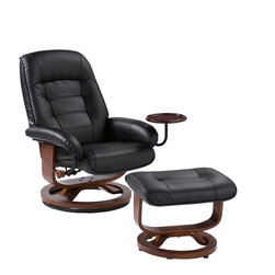 Holly & Martin - Hemphill Leather Recliner and Ottoman, Black - Become familiar with the concept of luxury as this recliner and ottoman set is all about rich, traditional elegance and modern superiority. This reclining chair and matching ottoman merges the ease of reclining with the comfort of luxurious bonded leather for a perfect end-of-day reward. As a bonus, this set comes with a smooth sliding side table that offers a handy spot for holding a beverage or storing a remote. So go ahead and put your feet up with this ergonomically designed recliner and ottoman set; you'll want one for every room.