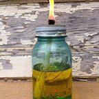 Mason Jar Citronella Candle by Down in the Boondocks - Keep the bugs from biting and get some rustic charm with these Ball jar citronella torches.