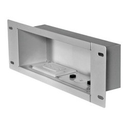 "Peerless - PEERLESS-AV IBA3AC-W In-Wall Metal Box with Knock Out & Power Outlet (Medium) - � Holds up to 25lbs;� 15A/125V duplex receptacle power source with surge protection with NEMA 5-15R;� Low-profile design fits behind thinnest mounts & flat panel displays;� Installs between 16"" wood stud centers when positioned vertically;� Heavy gage cold-rolled steel construction;� Positions horizontally or vertically to create the best look;� Includes cable ties & grommet;� Medium;� White"