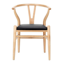 Modway - Amish Dining Side Chair in Black - Trust and simplicity enamor this piece of earnest decor. Smooth guided lines provide support while delivering a proactive and emergent seating experience. Made of handcrafted wood with a smooth wax finish and padded vinyl seat, the Amish Chair is available either separately or as part of a dining set.