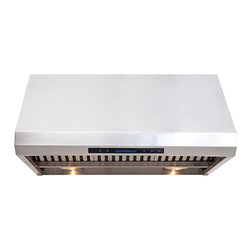 """Cavaliere - Cavaliere-Euro AP238-PS85-36 36; Under Cabinet Range Hood - Mount Type: Under Cabinet / WallMounted. Venting: 8"""""""" round duct vent exhaust. Airflow at Max: 1000 CFM. Lighting: 2 x 20w Halogen Lights, 2 Heating Lamps (light bulbs not included). Noise Level: 1.4Sone(45dB) / 3.5Sone(58dB) / 7.0Sone(68dB) / 8.0Sone(70dB). Voltage: 120v @ 60 Hz standard USA & Canada. Motor: 360 W Dual Chamber Ultra Quiet. Speeds: 4 Speeds with TIMER function. Keypad Type: Touch Sensitive with Blue LED lighting. Filters: Dishwasher safe Stainless steel baffle filters. Material: Heavy duty 19 gauge brushed finish stainless steel. Features: Credit Card Sized Remote Control, Unique Heat Sensitive Auto Speed function. Warranty: 1 year parts from the Manufacturer"""
