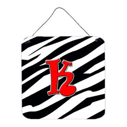 Caroline's Treasures - Letter K Initial Monogram - Zebra Red Aluminium Metal Wall Or Door Print - Great for inside or outside these Aluminum prints will add a special touch to your kitchen, bath, front door, outdoor patio or any special place.  6 inches by 6 inches and full of color.  This item will take direct sun for a while before it starts to fade.  Rust and Fade resistant.  Aluminum Print with Hanging Rope.  Rounded Corners.