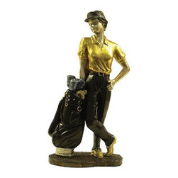 TLT - 8.75 Inch Hand Painted Resin The Queen of Golf Statue with Golf Clubs - This gorgeous 8.75 Inch Hand Painted Resin The Queen of Golf Statue with Golf Clubs has the finest details and highest quality you will find anywhere! 8.75 Inch Hand Painted Resin The Queen of Golf Statue with Golf Clubs is truly remarkable.
