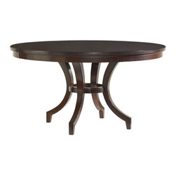 Lexington - Lexington Kengsington Place Beverly Glen Round Dining Table 708-875C - This stunning 16-piece radial matched Ribbon Stripe Mahogany veneer top, supported by tapered saber legs makes an elegant addition to any space.