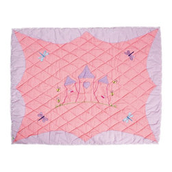 Wingreen - WinGreen Small Princess Castle Floor Quilt - Our Princess Floor Quilt is appliqued and embroidered with a beautiful Princess Castle, delicate dragonflies and cheerful bumblebees.