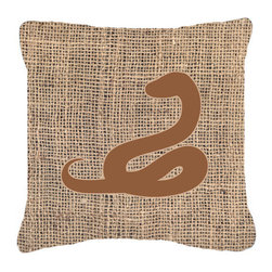 Caroline's Treasures - Snake Burlap and Brown Fabric Decorative Pillow Bb1124 - Indoor or Outdoor pillow made of a heavy weight canvas. Has the feel of Sunbrella fabric. 14 inch x 14 inch 100% Polyester Fabric pillow Sham with pillow form. This pillow is made from our new canvas type fabric can be used Indoor or outdoor. Fade resistant, stain resistant and Machine washable.