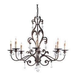 Kathy Kuo Home - Pollenca Crystal Ball Drops 8 Light Chandelier - Bulbous crystal drops are the right accent for this fine example of the blacksmith's craft. The unusual details of its ironwork are crafted to form a harmonious whole.