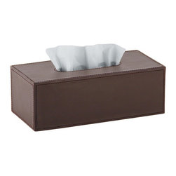 WS Bath Collections - Korame 7005 Tissue Box in Hand Crafted Leather - Korame by WS Bath Collections Tissue Box in Hand Crafted Leather in Black, Brown, or White