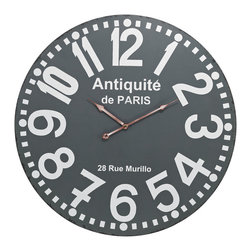 Sterling Lighting - Sterling Lighting Antique Wall Clock - The large digits and their simple type face suggest elements of French industrial design of the 1950's that is currently highly sought after in the antique markets and boutiques of Europe.