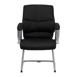 Flash Furniture - Flash Furniture Executive Side Chair with Black Leather - Flash Furniture - Guest Chairs - H9637L3SIDEGG - This Black Mid-Back Office Side Chair features soft leather upholstery with baseball glove stitching. Chair features built in lumbar support a well-padded seat and back and padded loop arms complete this stylish addition to your office. [H-9637L-3-SIDE-GG]
