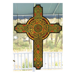 Meyda - 25 Inch W 34 Inch H Jeweled Celtic Cross Window Windows - Color Theme: Green Da Flame Red