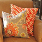 Red and Chartreuse Flower Pillow paired with a Spark Red Betwixt Pillow Cover - The Pillow Studio