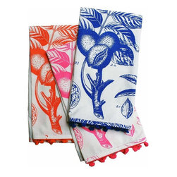 Rhadi Living - Uruli Tea Towels: Walnut - Set of 3 tea towels. Neon orange, pink and blue. 27x21.