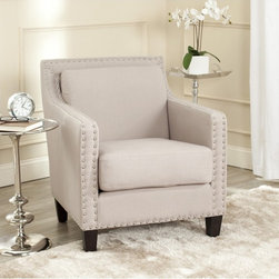 Safavieh - Safavieh Charles George Taupe Linen Arm Chair - In the Charles George arm chair a familiar form is dressed up with silver nailhead details for fresh interest.