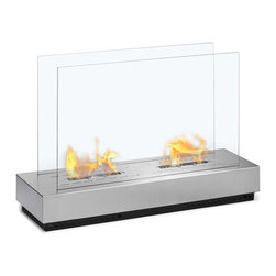 Moda Flame - Moda Flame Braga Free Standing Floor Indoor Outdoor Ethanol Fireplace - Braga Free Standing Floor Indoor Outdoor Ethanol Fireplace in Stainless Steel