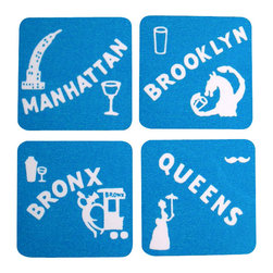Cool Culinaria - New York Coasters (4 Boroughs) 1930s Cocktail Menu Art, Blue - Artwork adapted from the original Bob McCaffrey's Hotel 1930s Cocktail Menu Artwork. Set of four cork-back coasters (green or blue) with a wipe clean hard wearing gloss-finish surface. Made in USA.