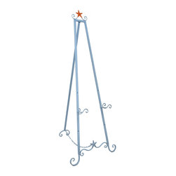 Zeckos - Sky Blue with Orange Starfish Art Stand Display Easel 58 In. - This large metal art display easel has a glossy light blue finish with an orange starfish accent on the top that will compliment any beach themed decor. It measures 58 inches tall, 22 inches wide at the bottom, and up to 26 inches deep. The rear support stand can move freely up to 26 inches from the base (further extension is restrained by a linked chain). Two display holders 3 inches deep can be set 12 inches, 19 inches, or 26 inches from the ground. This decorative easel is great for displaying signs, photos, and artwork in homes, offices and art galleries. It assembles in moments, with no tools required.