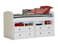 Berg Furniture - Berg Furniture Utica Lofts Tall Twin Captain's Bed-White - Berg Furniture - Kids Beds - 237694 - The most unique Berg Tall Twin bed from the Sierra Space-Savers collection is a space saving dream come true. This kids bed is tall enough to allow for underneath placement of any 4 drawer dresser a desk or another bed. You can easily visualize this bed in a child's bedroom a dorm room or guest room. The bed is available in 5 different finishes making it a perfect addition to any decor or existing Berg Furniture pieces.