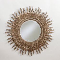 """43"""" Silver Sunburst Mirror - This impressive mirror calls to mind the reign of Louis XIV, France's """"Sun King."""" Radiating visual excitement, its embellished rays are hand-finished in antiqued silver tones. A 1�-inch bevel adds to its richness."""