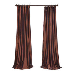 """Exclusive Fabrics & Furnishings, LLC - Rum Raisin Faux Silk Taffeta Curtain - 56% Nylon & 44% Polyester. 3"""" Pole Pocket with Hook Belt. Lined. Interlined. Imported. Weighted Hem. Dry Clean Only. SOLD PER PANEL."""