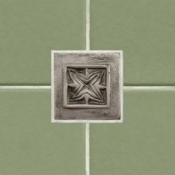 """2"""" Aluminum Wall Tile with Passion Flower Design - Design your own kitchen backsplash or add interest to your bathroom tile with this 2"""" accent tile.  Made of aluminum, the modern finish works well in a variety of decors."""
