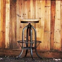 Industrial Factory Stool - Strong metal construction and reclaimed wood bar stool provides an effortlessly chic way to add an industrial flair to your decor. This reclaimed wood bar stool is perfect for in impromptu side table.