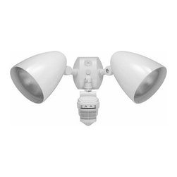 RAB Electric Lighting - White Motion Flood Light with Photocell Sensor - STL360HBW - The motion sensor combines a 60-foot, 180 degree forward range detector with a 360 degree downward detector for total coverage. The motion sensor can be set for increments of 5 seconds up to 12 minutes, and the integrated photocell can be adjusted to allow for 24-hour operation or custom applications. Includes an Evening Timer which allows for lights to work continuously, without motion, for 1 to 8 hours after dusk; the sensor will revert to the motion activated mode once the designated time has passed. Takes (2) 150-watt halogen PAR38 bulb(s). Bulb(s) sold separately. UL listed. Wet location rated.