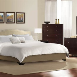 Lifestyle Solutions - Magnolia 5 Pc Bedroom Set (Queen) - Choose Bed: QueenIncludes bed, dresser, mirror and two nightstands. Chest not included. Upholstered with lush cream colored fabric. Fully upholstered headboard, footboard and side rails. Headboard padded with premium cushions. Brushed pewter finish nail trim on headboard. Beveled mirror. Two hooks. Pre-drilled holes. Can be hung vertically and horizontally. Dresser has six drawers. Nightstand has two drawers and one shelf. English dovetail joints. Solid wood drawers. Hand-sanded and stained interiors drawers. Reinforced corner wood blocks. Center-mounted metal glides. Felt-lined top drawers. Stained, recessed and screwed on back panels. Bottom dust panels. Metal knobs. Made from wood. Rich cappuccino finish. Queen: 87.01 in. L x 65.16 in. W x 49.21 in. H. Eastern King: 87.01 in. L x 81.30 in. W x 49.21 in. H. California King: 87.01 in. L x 76.97 in. W x 49.21 in. H. Dresser: 60.94 in. W x 19.37 in. D x 31.02 in. H. Mirror: 40.47 in. W x 30.51 in. H. Nightstand: 21.97 in. W x 17.36 in. D x 26.06 in. H. Warranty. Bed Assembly Instructions. Dresser Assembly Instructions. Mirror Assembly Instructions
