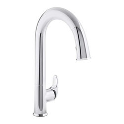 "Kohler - Kohler K-72218-B7-CP Polished Chrome Sensate Sensate Pullout High Arch - Product Features:  Premium metal construction of faucet body and handles ensures reliability Covered by Kohler's limited lifetime faucet warranty Kohler finishes are guaranteed to resist corrosion and tarnishing This faucet takes touchless to a whole new level of convenience The Sensate touchless faucet frees your hands so you can speed thorugh cooking and cleaning tasks while maintaining a more hygienic kitchen environment High arch gooseneck spout allots more space to work and greater access to all areas of the sink Features a pullout spray faucet head and hose Spout swivels 290-degrees to allow for greater sink access Designed to install easily with standard U.S. plumbing connections All hardware needed for installation is included  Product Technologies / Benefits:  Response Technology: Providing reliable touchless on/off operation through a state-of-the-art sensor that responds within 20 milliseconds. Response is in tune with your every move; a simple wave of the hand, or other object such as utensil or pan, turns it on or off. The sensor is precision designed to provide reliable operation every time and prevent false activations while you do other tasks in the sink area. DockNetik: A magnetic docking system located within the spout smoothly glides and securely locks the spray head into place. DockNetik design truly eliminates the inconvenience of older model pullout faucets, the loose connections and sagging spray heads are a thing of the past; these faucets will provide a firm, tight docking every time.  Product Specifications:  Overall Height: 15-1/2"" (measured from counter top to the highest point on faucet) Spout Height: 9-9/16"" (measured from counter top to spout outlet)"