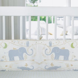 Serena & Lily - Dylan ThreePiece Crib Set - Dylan's mystical caravan of desert animals brings an adventurous spirit to the nursery. Flat-style bumper features caravan animal print with flax linen piping and ties; zippered slipcover removes easily for washing. Straight skirt is white with cotton blue band and flax linen trim. 100% cotton sateen crib sheet in cloud bamboo fits a standard crib mattress.