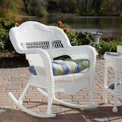 All-Weather Sahara Wicker Rocking Chair - Romance can be yours with the wonderful arching and sweeping lines of the Sahara Wicker Rocking Chair. The Sahara is crafted with a tightly woven all-weather resin wicker featuring the same look and comfort of natural wicker but with the resilience to withstand the changing seasons. The wicker foundation of the Sahara Wicker Rocking Chair is hand-woven over a sturdy rattan frame resulting in a casual furniture piece that is not only attractive, but virtually indestructible to boot. The Sahara Outdoor Wicker Rocking Chair is crafted with a high backrest that gracefully rolls down into the side armrests to comfortable hug your body. While you sit, you'll catch every breeze to cool you as well. You get fashionable looks that create a special outdoor atmosphere with this rocker. Minimal assembly required.About Kaven Company, Inc.San Francisco-based Kaven Company, Inc., is among the leaders in imported resin aluminum outdoor furniture. Operating for more than 20 years, Kaven owner Kevin Chan was one of the first to introduce his products to the U.S. The company also owns a shipping facility in Lexington, N.C., to serve customers on the East coast.Kaven cuts no corners while manufacturing products of the highest quality. The company offers high-end products and still maintains the competitive pricing edge. Kaven is committed to combining the best possible product with the highest customer service possible.