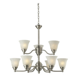 Z-Lite - Z-Lite Athena Chandelier X-9-0112 - Brushed Nickel finish and white swirl shades along with simple detailing and elegant lines complete the look of this classy, nine light chandelier.