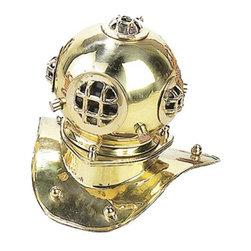 """ecWorld - Replica Desktop 8"""" U.S. Navy Mark-V Brass Diving Helmet - Antique Reproduction Solid Brass Desktop Model U.S. Navy Mark-V Deep Sea Diving Helmet"""