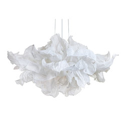 Fandango Hanging Lamp by Hive - Fandango is theatrical in expression, dancing in mid-air with similar drama to a girl waving her dress. Several layers of petals made from muslin cotton cloth can be shaped and adjusted to desired wave. The piped-edge, yet flowing feel gives a luxe touch. Available in small or large size option. Requires (2) 26 watt, 120 volt, medium base compact fluorescent bulbs sold separately. Small: 29.5W x 15.75H. Large: 39.4W x 25.6H. UL listed.
