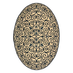 Safavieh - Hand-hooked Iron Gate Ivory/ Navy Blue Wool Rug (7'6 x 9'6 Oval) - Garden rug is hand-hooked of a pure virgin wool pile Transitional rug showcases a beige background Floor rug displays stunning accents of dark blue