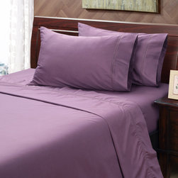 None - Black Plum 500 Thread Count Hemstitch Sheet Set - Lay down in sumptuous softness every night with these 500 thread count sheets. This sheet set features a rich black plum coloring that will complement almost any decor. The set is constructed of 100-percent cotton for durability and comfort.