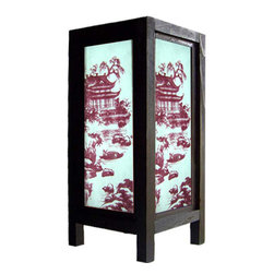 "Oriental-Décor - 11"" Asian Pagoda Lamp - Our Asian Pagoda Lamp features a brilliant pagoda themed landscape in the heart of ancient China. Place this decorative lamp in any room to bring a touch of the Orient into your home or office.  Everything is included--a 110-volt electrical chord, socket and switch, and bulb. Some assembly required."