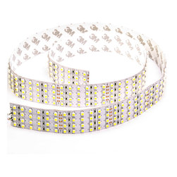 4NFLS-x2160-24V-1M series Quad Row High Power LED Flexible Light Strip 1m Sample - OUR BRIGHTEST FLEXIBLE LIGHT STRIP - UP TO 2,700 LUMEN. 4NFLS-x2160-24V-1M series quad row flexible LED light strip. 0.96 meter (37.8 inch) long with quadruple-row array of 432 high power 1-chip 3528SMD LEDs can be cut into 24-LED segments. 24VDC operation. Price for each 1 meter - select quantity ordered to be a continuous strip (up to 4.8m) or cut into separate 0.96m pieces and does not come with attached power wires.