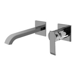 Graff - Qubic Collection Wall-Mounted Lavatory Faucet W/ 1 Handle, Polished Chrome - Wall-mounted spout and handle installation