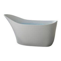 Badeloft - Modern, Glass Slipper Shaped, Freestanding Bathtub - BW-02, Glossy - Freestanding bathtub for your wellness oasis.  This Modern, Glass Slipper Shaped, Freestanding Bathtub is made out of stone resin. Your choice of Matte White or Glossy White. Several of our competitors charge 10% extra for Glossy but we do Not. Comes with built-in overflow protection and a chrome pop-up plug drain.