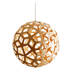 Coral Pendant by David Trubridge - Coral pendant features an untreated natural bamboo plywood body and white cord, socket and round canopy. Body available in natural, and natural outside with inside yellow, red, aqua, orange, salmon (pink), lime, green and white, 2 sided painted white and 2 sided stained black. The 2-sided stained black option is not available for the 15.8 inch version. Available in 16, 24, 32, 40 and 63 inch diameters. Includes plastic clips to secure shade pieces together. One 60 or 100 watt, 120 volt, A19 medium base incandescent lamp not included. General light distribution. Assembly required.