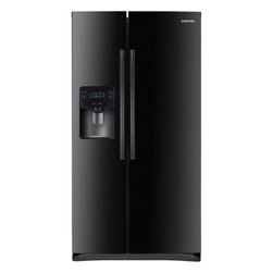 "Samsung - RS25H5000BC 36"" Side-by-Side Refrigerator with 25 cu. ft.  4 Tempered Glass Shel - This Samsung side-by-side refrigerator has a large 25 cu ft capacity and offers a nice sleek design There is a compact icemaker located on the door which takes up little space in the freezer Enjoy the convenience of having filtered water come straigh..."