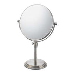 """Classic Adjustable Vanity Mirror - The Classic Adjustable Vanity Mirror really brings a new definition to classic with this old fashioned style that's sure to give you a blast from the past. The 1x/5x double sided mirrors, 7 ¾"""" diameter, and its adjustable stand (ranging its height to be anywhere from 14"""" to 17 ¼"""" tall. Wow!), allows you to really experience the past all over again, with all those fun benefits. Also available in three finishes."""