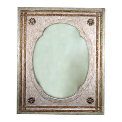 Stella Mirror - The Stella Mirror is similar to a classical French wall panel with a variety of decorations in keeping with the over-ornamentation of the French style. The gold leaf bands and French rosettes add a feminine quality to the piece, as does the pinkish hue of the cloud-like finish. Beautiful whether hung alone or paired with silver or gold wall sconces it is sure to add a romantic feel to any room.