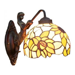 ParrotUncle - Tiffany Glass Sunflower Pendant Wall Sconces with Mermaid Base - Tiffany Glass Sunflower Pendant Wall Sconces with Mermaid Base