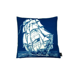 Lava - Ship On White Reversible 18 x 18 Pillow (Indoor/Outdoor) - 100% polyester cover and fill. Back is another lava print, making the pillow truly reversible. Zippered closure with 100% polyester filled insert. Made in USA. Spot clean only. Safe for use indoors or out.