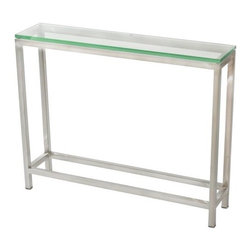 TFG Furniture - Soho Small Console Table - TFG Furniture Soho Small Console Table. Soho Small Console Table. Thinner profile frame perfect for smaller spaces. Frame constructed with 1' square stainless steel tubes. Glass is 5/8' thick which provides a safe and scratch resistant surface. Corners are smooth and absolutely seamless using a special welding technique.No assembly required.