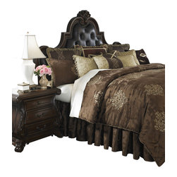 AICO Furniture - Highgate Manor Queen 12-piece Comforter Set - Fringed/Ebroidered Traditional European Motif. Deep Brown Color Scheme. 1 Comforter, 2 Euro Shams, 2 Standard Pillow Shams, 1 Bedskirt (3 Pieces), 6 Decorative Accent Pillows