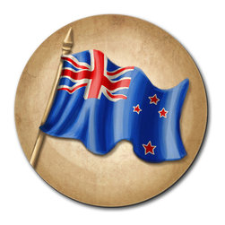 """Made on Terra - Vintage New Zealand Flag Mouse Pad - You're unashamedly a little proud of yourself. You've done a bang-up job organizing your desk and it deserves something special. This fabulous mouse pad should do just nicely, thank you very much. Choose from Made on Terra's many mouse pads.  Measures 7 1/2"""" in diameter; 1/4"""" thick. Made of polyester on top and durable black rubber on the back. Sold individually."""